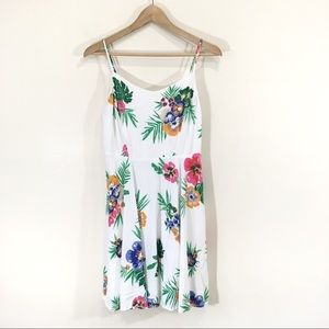 Old Navy Tropical Floral Dress Sz Medium White